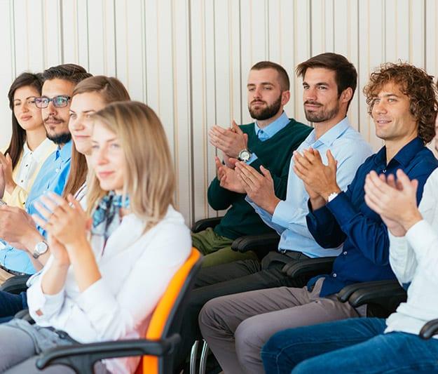 Teacher training course class applauding